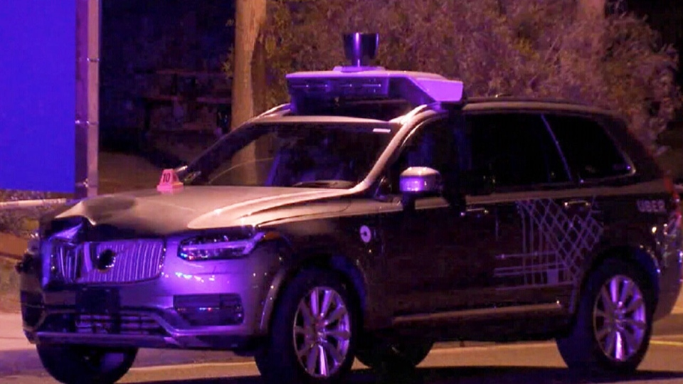 Self-driving Uber vehicle hits pedestrian