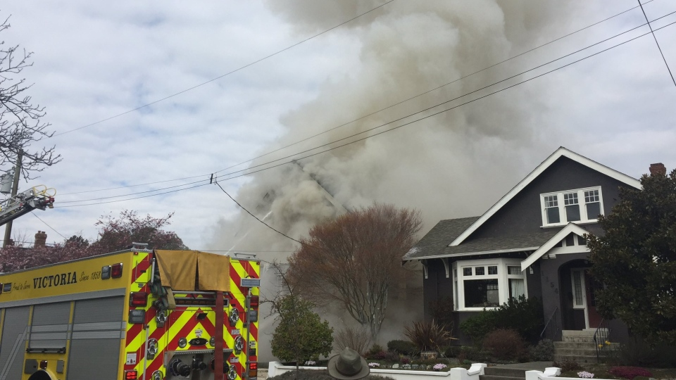 The fire broke out before noon Monday on McClure Street. Mar. 19, 2018 (CTV Vancouver Island)