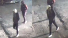Security camera images of two men wanted in connection with the shooting death of 26-year-old Nnamdi Ogba at a Toronto Community Housing complex. (Toronto police handout)