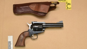 The Ruger Blackhawk .45 caliber handgun found on Gerald Stanley's property by RCMP. (Court exhibit)