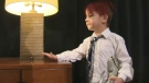 Leon Clare, 5, explores some of the furniture that the Hyatt Regency donated to his family and 24 other families with CUPS