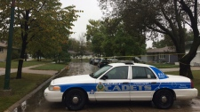 Photo of the police scene taken on Sept. 24, 2018, in the 100 block of Madrigal Close. (Beth Macdonell/CTV Winnipeg)