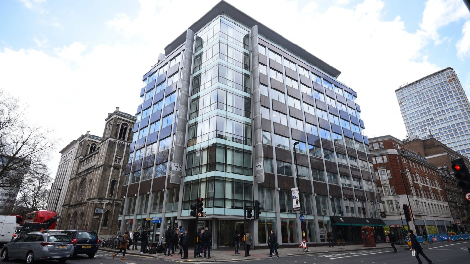 The offices of Cambridge Analytica (CA) in central London, on March 20, 2018. (Kirsty O'Connor/PA via AP)