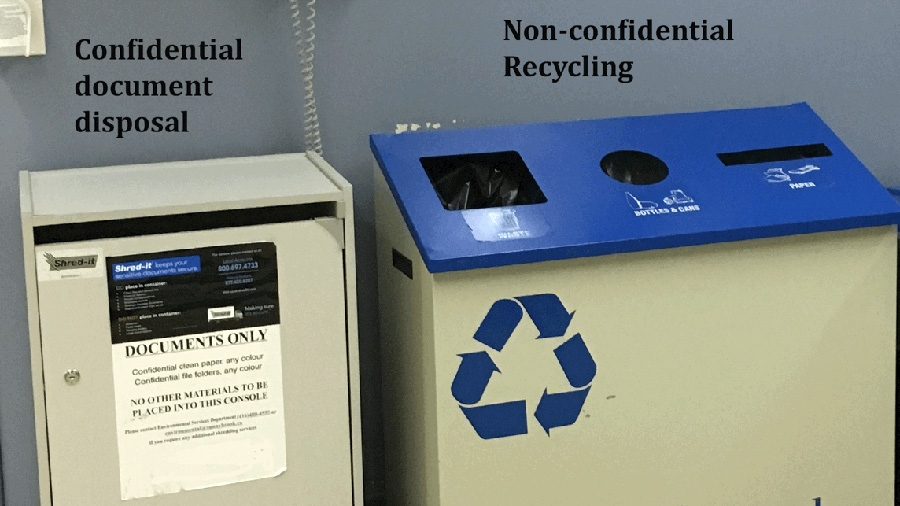 The types of bins available in many hospitals, designating where sensitive documents and where recycling should go.