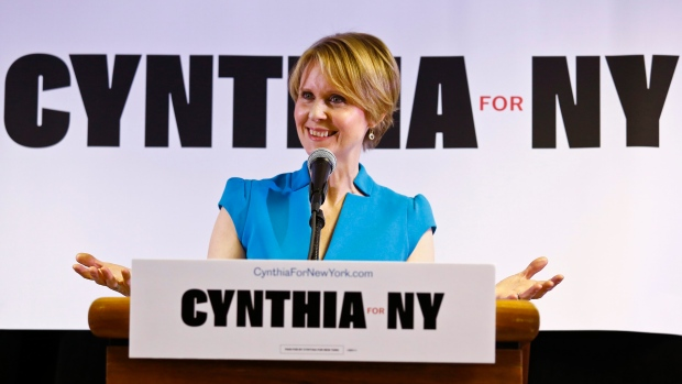 New York candidate for governor Cynthia Nixon speaks during her first campaign stop at the Bethesda Healing Center church, Tuesday March 20, 2018, in the Brownsville section of Brooklyn in New York. (AP Photo/Bebeto Matthews)
