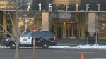 Emergency crews responded to a bomb scare at a building in the downtown core on Tuesday, March 20, 2018.