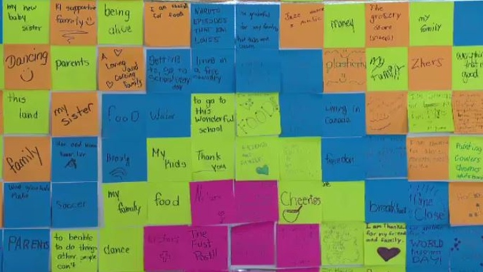 Plasticity Labs gratitude wall on International Day of Happiness March 20, 2018.