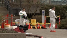 A hazmat team was called in after a man entered the Coquitlam RCMP detachment carrying a package of suspicious white powder on March 19, 2018.