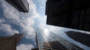 Bank skyscrapers are seen from Bay Street in Toronto's financial district, on Wednesday, June 16, 2010. THE CANADIAN PRESS/Adrien Veczan