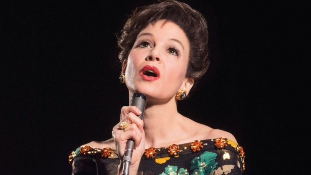 """This undated image released by Pathe shows Renee Zellweger as she portrays Judy Garland in a new film called """"Judy"""". The movie is set in the late 1960s near the end of Garland's career and will feature the behind-the-scenes drama before Garland died in the city at age 47 in 1969. (Pathe via AP)"""