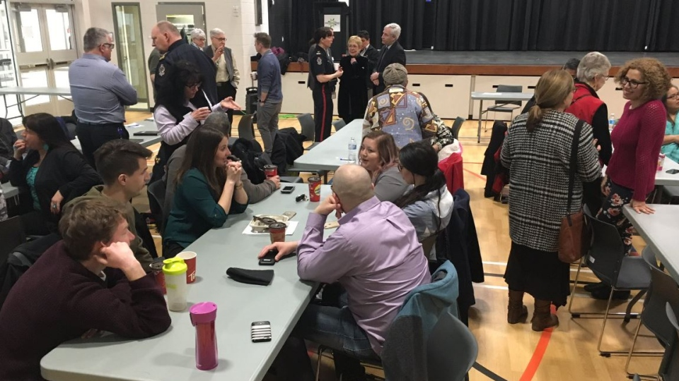 Community members gather at the Mâmawêyatitân Centre for Reconciliation Regina on March 20, 2018 (Creeson Agecoutay / CTV Regina)