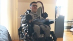 17-year-old Sammy Cavallaro, who lives with spinal muscular atrophy, is seen in his Kirkland, Quebec home. (CTV Montreal)