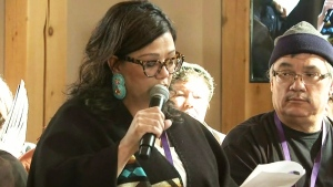 Hilda Anderson-Pryz speaks during a meeting for the inquiry into missing and murdered Indigenous women in Thompson, Man. on March 20, 2018.