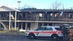 A fire burned through a large section of the Econolodge hotel on Taschereau Blvd. in Brossard on March 21, 2018 (CTV Montreal/JL Boulch)