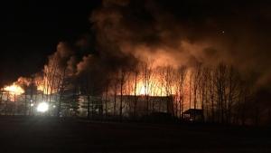 Fire engulfs a fruit storage facility near Vienna on Tuesday, March 20, 2018. Facebook / John Schmitt)