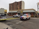 The McDonalds on Wyandotte and Goyeau is on lockdown and the street around it is taped off on Wednesday, March 21, 2018.  (Michelle Maluske / CTV Windsor)