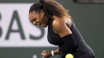 Serena Williams, of the United States, reacts while playing Zarina Diyas, of Kazakhstan, during the first round of the BNP Paribas Open tennis tournament in Indian Wells, Calif., Thursday, March 8, 2018. (AP Photo/Crystal Chatham)