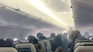 Smoke fills the cabin of Flight 3161 as it descends towards Nanaimo Airport, Tuesday, March 20, 2018. (Robin Thacker)