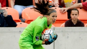 In this Feb. 21, 2016, file photo, Canada goalkeeper Stephanie Labbe makes a save against the United States during the first half of the CONCACAF Olympic women's soccer qualifying championship final in Houston. (AP Photo/David J. Phillip)