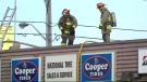 Firefighters tackle a 3-alarm blaze at a Yorkdale tire store Wednesday March 21, 2018.
