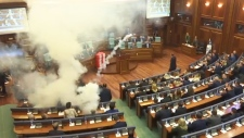 Extended: Canisters thrown in Kosovo's parliament