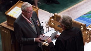 Lawyer and negotiator Thomas Molloy is sworn in as Saskatchewan's 22nd lieutenant-governor in Regina on Wednesday, March 21, 2018. THE CANADIAN PRESS/Michael Bell