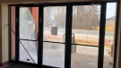 Smashed glass doors are seen at the Chabad at Flamingo Synagogue in Thornhill on Mar. 21, 2018. (Rabbi Mendel Kaplan/Facebook)