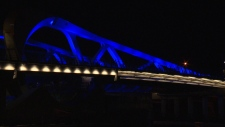 The city fired up the new Johnson Street Bridge's blue lights Tuesday night. March 20, 2018. (CTV Vancouver Island)