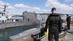 HMCS Chicoutimi at CFB Esquimalt after returning home from deployment in 2018. (CTV News)