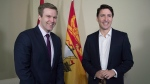Prime Minister Justin Trudeau, right, meets with New Brunswick Premier Brian Gallant in Sussex, N.B. on Thursday, March 22, 2018. (THE CANADIAN PRESS/Andrew Vaughan)