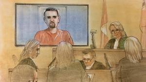 Kalen Schlatter is pictured in this court sketch, Thursday, March 22, 2018.