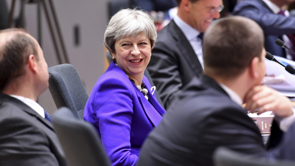 British Prime Minister Theresa May, centre, attends a round table meeting at an EU summit at the Europa building in Brussels on March 22, 2018. (Geert Vanden Wijngaert / AP)
