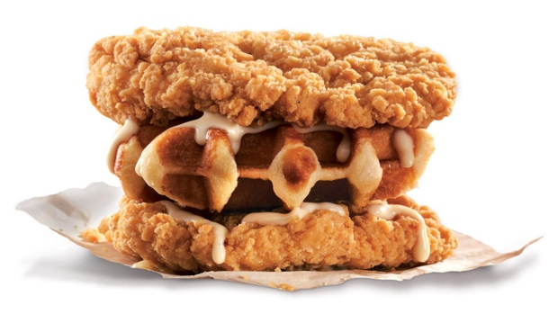 Coming To Canada Waffle Stuffed Double Down Sandwich From Kfc