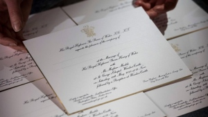 Invites for the wedding of Prince Harry and Meghan Markle are shown in this image released by Kensington Palace.