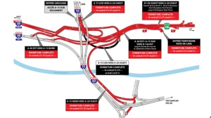 Work on the Turcot Interchange will close several roadways starting Friday night and reopening Monday morning on the weekend of March 22 to 24, 2018. (Graphic: Mobilite Montreal)