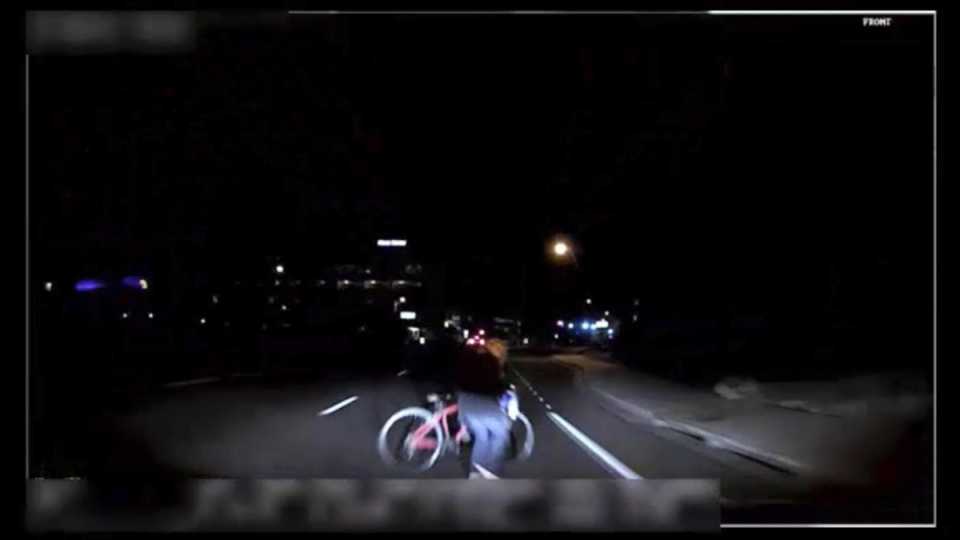 Image from video moments before an Uber SUV hit a woman in Tempe, Ariz., on March 18, 2018. (Tempe Police Department via AP)
