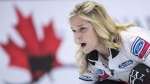 Canada skip Jennifer Jones calls for the sweep as they face Russia at the World Women's Curling Championship on March 22, 2018 in North Bay, Ont. (Paul Chiasson / THE CANADIAN PRESS)