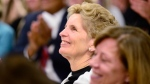 Ontario Premier Kathleen Wynne smiles during a CAMH mental health funding announcement in Toronto on Wednesday March 21, 2018. Wynne says people aged 65 or older will no longer have to pay a deductible or co-payment for more than 44-hundred prescription drugs. THE CANADIAN PRESS/Frank Gunn
