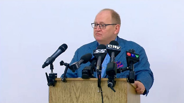 Doug Elliott, a lawyer and LGBT community member, speaks to the media at The 519 Centre on March 22, 2018.