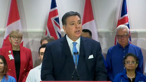 Ontario's finance minister Charles Sousa speaks at a Liberal health care funding announcement on March 22, 2018.
