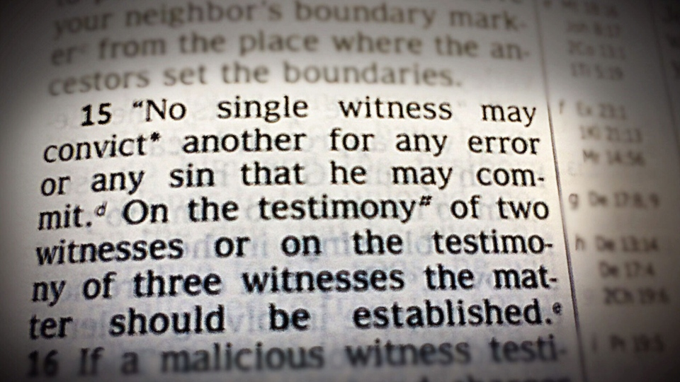 The 'two-witness rule': Jehovah's Witnesses' congregational judicial policies require testimony of two material witnesses to establish a perpetrator's serious sin in the absence of confession.