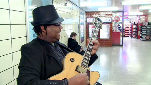 Subway buskers bring music to busy TTC commuters during the holiday season.