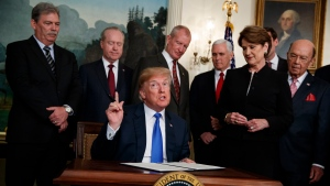 U.S. President Donald Trump speaks before he signs a presidential memorandum imposing tariffs and investment restrictions on China in the Diplomatic Reception Room of the White House, Thursday, March 22, 2018, in Washington. (AP Photo/Evan Vucci)