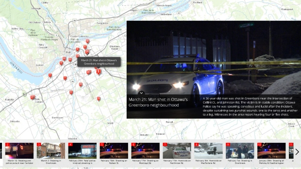 Interactive map of locations around the city where shots were fired.