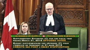 Speaker of the House Geoff Regan presides over a potential marathon voting session in the House of Commons on Thursday, March 22, 2018.