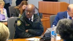 Toronto Police Chief Mark Saunders sits in a police board meeting on March 22, 2018.