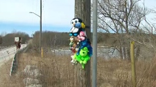 A vigil for Kaden Young by the Grand River, where he was swept away by the flood waters more than five weeks ago.