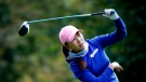 In-Kyung Kim, of South Korea, plays a shot on the 4th hole during the final round of the Evian Championship women's golf tournament in Evian, eastern France, Sunday, Sept. 17, 2017. (AP Photo/Laurent Cipriani)