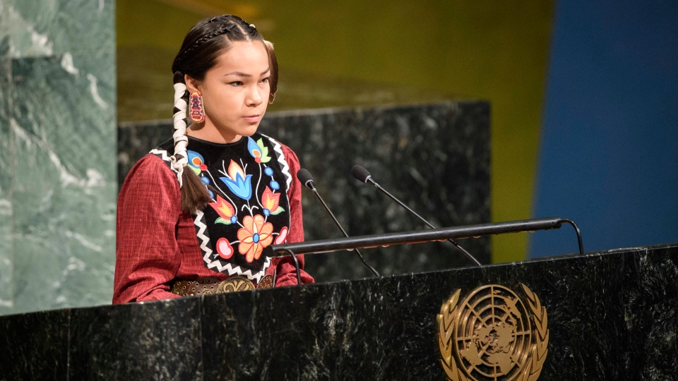 Autumn Peltier, 13, from the Anishinaabe tribe of Canada, speaks in the General Assembly for the launch of the International Decade for Action on Water for Sustainable Development, Thursday, March 22, 2018, at UN headquarters. (Manuel Elias/United Nations via AP)