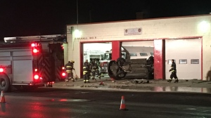 The crash happened Friday morning at Winnipeg Fire Paramedic Service Station No. 9 in the 800 block of Marion Street. (Ryan Harding/CTV News)